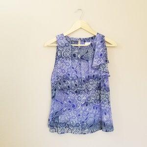 HD In Paris Blue Paisley Print Blouse Size 4
